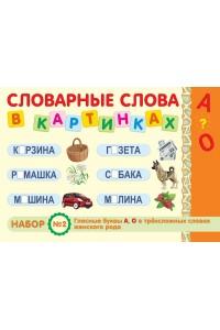 Словарные слова в картинках. Набор № 2. Гласные буквы А, О в трёхсложных словах женского рода